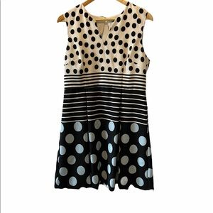 CLEO Petites Polka Dot Colour Blocked Dress 12
